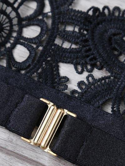 Crochet Flower Unlined Bra and Panty - BLACK S Mobile
