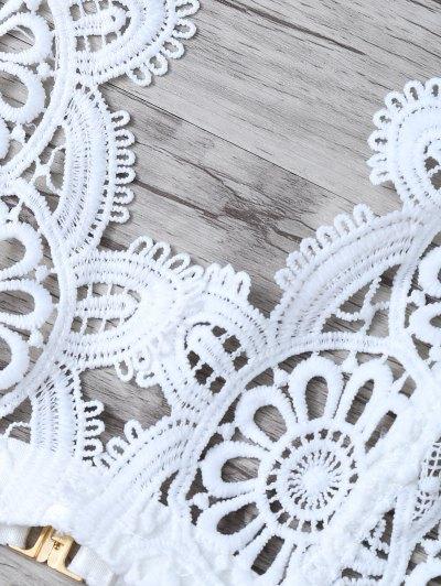 Crochet Flower Unlined Bra and Panty - WHITE S Mobile