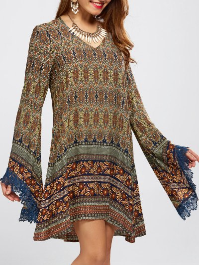 Bell Sleeve Lace Trim Printed Boho Dress - COLORMIX L Mobile