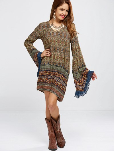 Bell Sleeve Lace Trim Printed Boho Dress - COLORMIX M Mobile