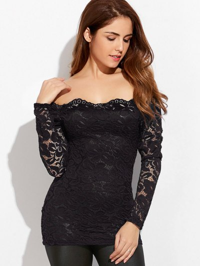 Fitting Off The Shoulder Lace Blouse - BLACK L Mobile