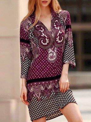 Three Quarter Sleeve Floral Print Straight Dress - Purple