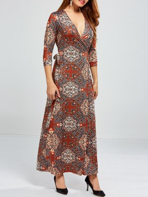 Low Cut Print Maxi Wrap Dress
