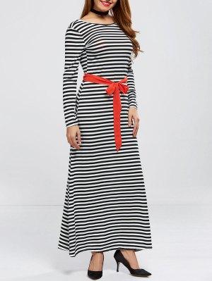 V Back Belted Striped Maxi Dress - Stripe