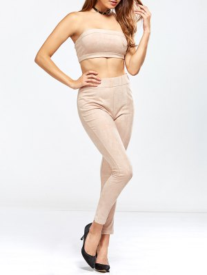 Faux Suede Bandeau Top And High Rise Pants - Nude Pink
