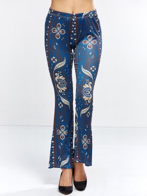 Floral Bell Bottom Pants - Purplish Blue