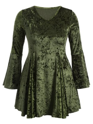 Bell Sleeve V Neck Fit And Flare Velvet Dress - Green