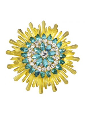 Enamel Faux Crystal Flower Brooch - Yellow And Green