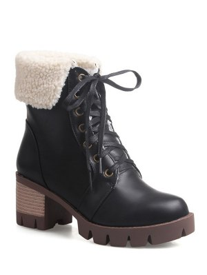 Lace Up Platform Round Toe Ankle Boots