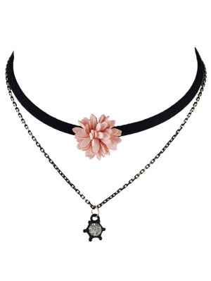 Velvet Floral Double Layers Choker - Pink