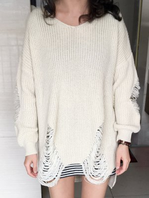Loose High Low Ripped Pullover Sweater - Glitter Creamy White