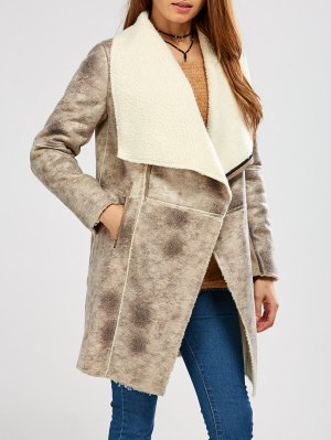 Fleece Lining Faux Suede Shawl Coat - Gray