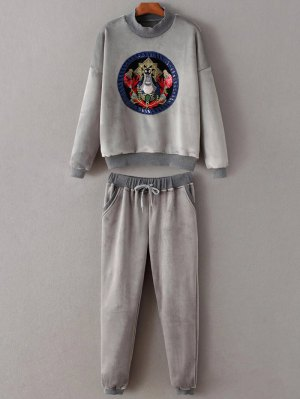 Embroidered Sweatshirt And Drawstring Gym Pants - Gray
