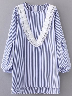 Ruffles Lantern Sleeve Striped Dress - Light Blue
