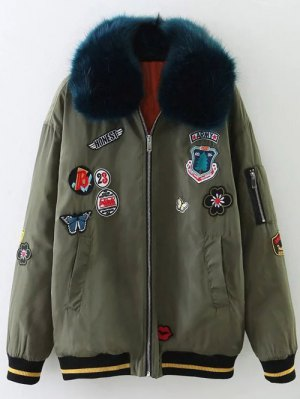 Furry Collar Patch Padded Bomber Jacket - Army Green