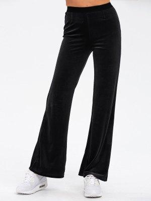 Velvet Boot Cut Pants - Black