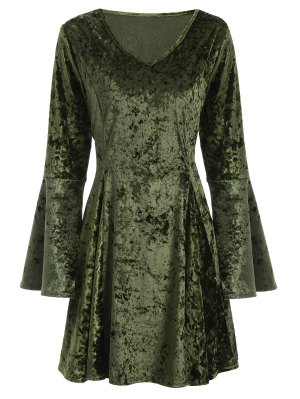 Bell Sleeve Fit And Flare Velvet Dress - Green