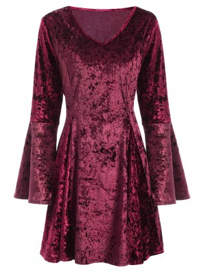 Bell Sleeve Fit And Flare Velvet Dress - Burgundy