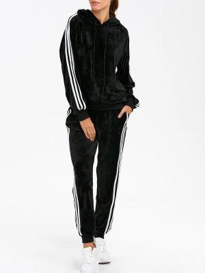 Velvet Hoodie And Sweatpants - Black