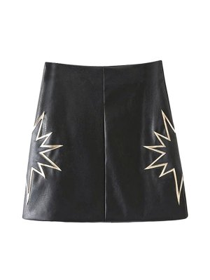 PU Printed A-Line Skirt - Black