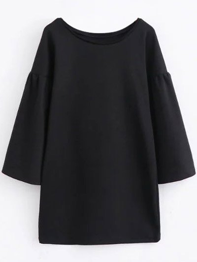 Round Collar Long Sleeve Shift Dress