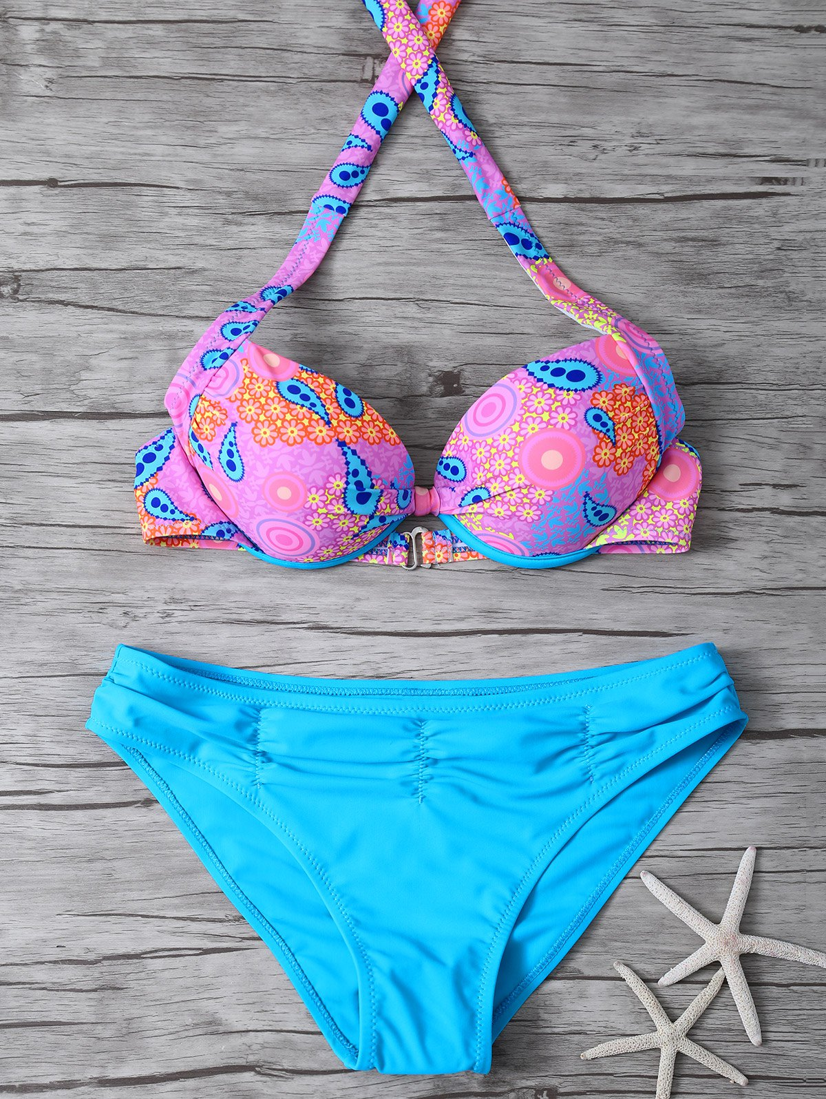 Halter Printed Ethnic Style Bikini Set