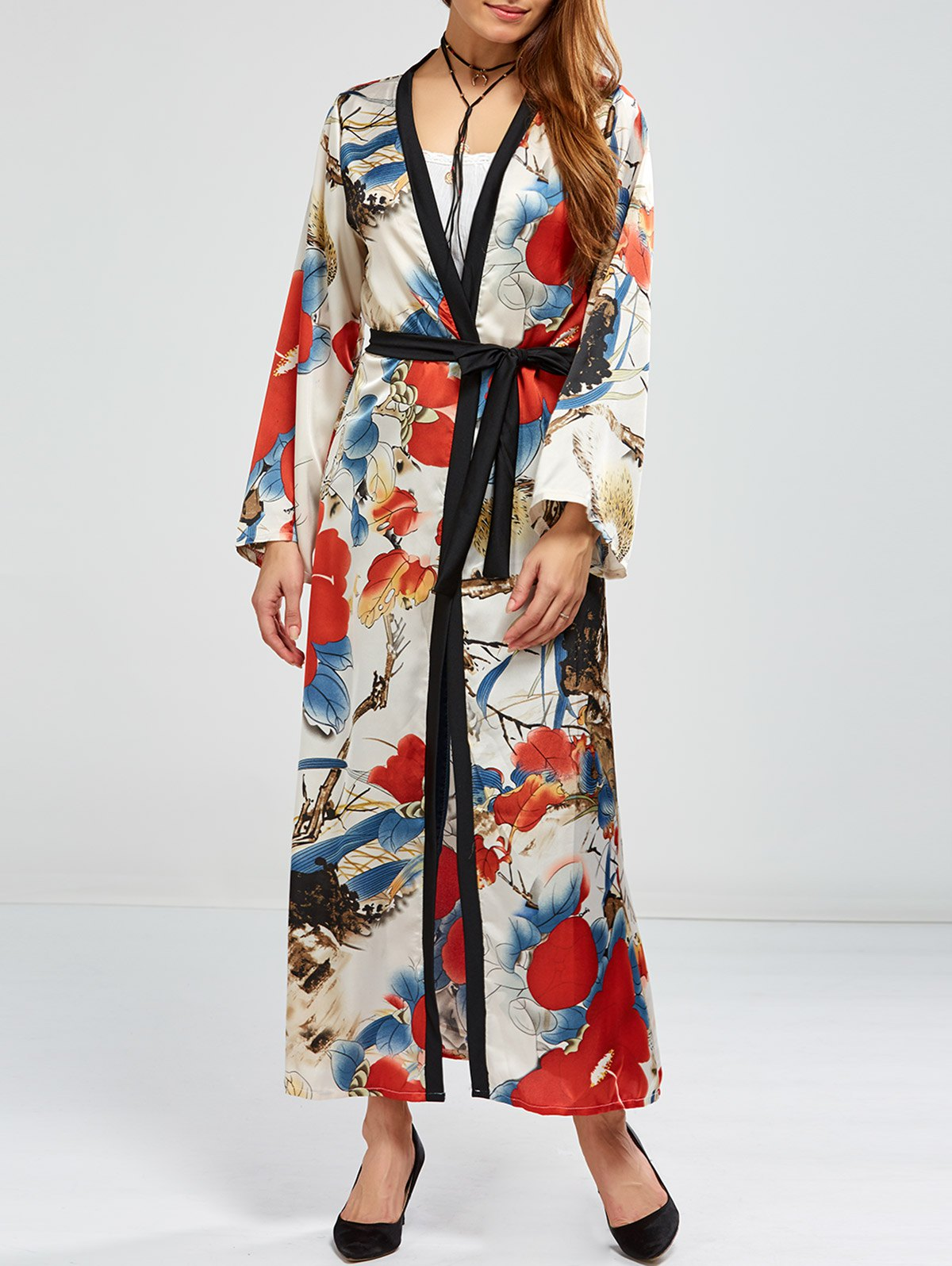 Floral Open Front Maxi CapeClothes<br><br><br>Size: ONE SIZE<br>Color: FLORAL