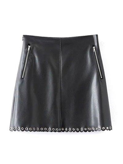 Scalloped PU A-Line Skirt