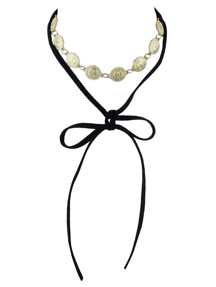 Tie Velvet Bar Round Alloy NecklaceAccessories<br><br><br>Color: BLACK