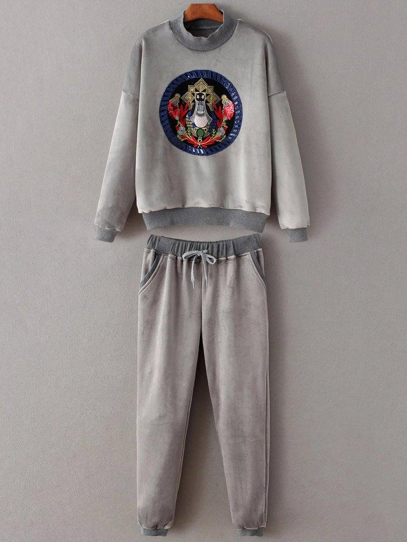 Mock Neck Embroidery Sweatshirt and Drawstring Gym Pants