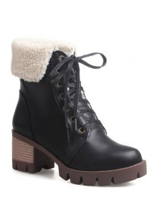 Lace Up Platform Round Toe Ankle Boots - Black 38