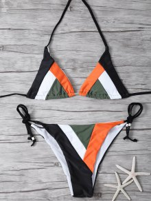 Color Block Geometric Bikini Set - Black