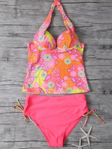 Printed Halter Underwire Tankini Swimsuit - Watermelon Red L