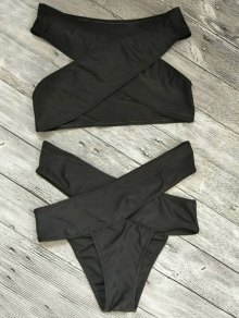 Cut Out Bandage Bikini Set - Black