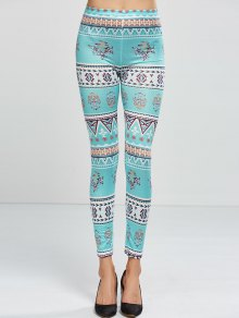 Patterned Skinny Leggings - Light Green