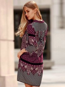 Three Quarter Sleeve Floral Print Straight Dress - PURPLE S