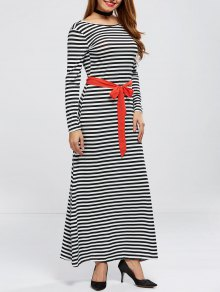 V Back Belted Striped Maxi Dress
