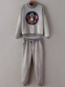 Embroidered Sweatshirt and Drawstring Gym Pants