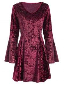 Bell Sleeve Fit and Flare Velvet Dress
