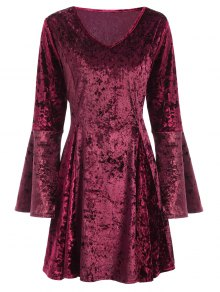 Bell Sleeve Fit and Flare Velvet Dress