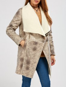 Fleece Lining Faux Suede Shawl Coat - Gray M