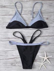 High Cut Color Block Bikini Set - Black