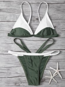 High Cut Color Block Bathing Suit - Army Green