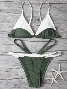 High Cut Color Block Bikini Set - Army Green