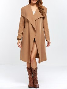 Shawl Collar Belted Wrap Coat - Camel