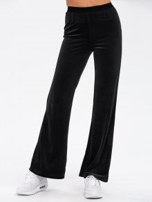 Velvet Boot Cut Pants - Black
