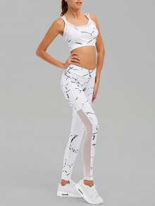 Paint Splatter Mesh Paneled Gym Suit - White