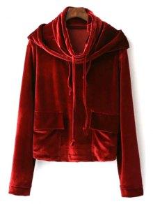 Cropped Velvet Hoodie - Wine Red L
