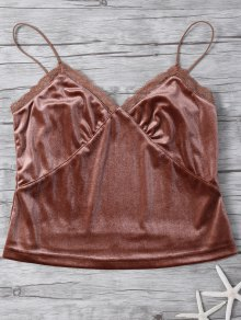 Lace Trim Velvet Camisole Top - Coffee