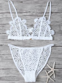 Crochet Flower Unlined Bra And Panty - White